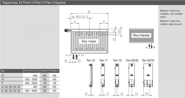 Радиаторы керми 22 тип нижнее подключение схема